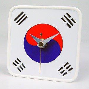【衝浪小胖】韓國國旗/膠框桌鐘/掛鐘/機芯/指針/South Korea/各國家款式都有賣/手工製造