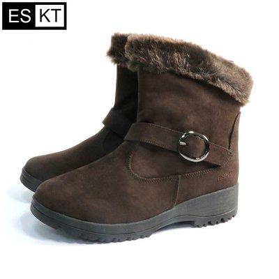 丹大戶外用品【ESKT】女短筒雪鞋/專利冰爪/內裡舒適刷毛/耐寒達零下10度 SN239 咖啡色