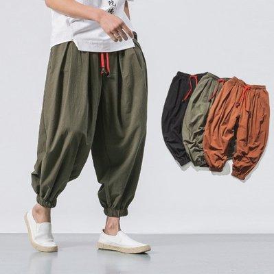 【NF429】亞麻老爺束口褲  夏裝新款中國風棉麻男士休閒哈倫褲時尚大碼男式鬆緊亞麻長褲