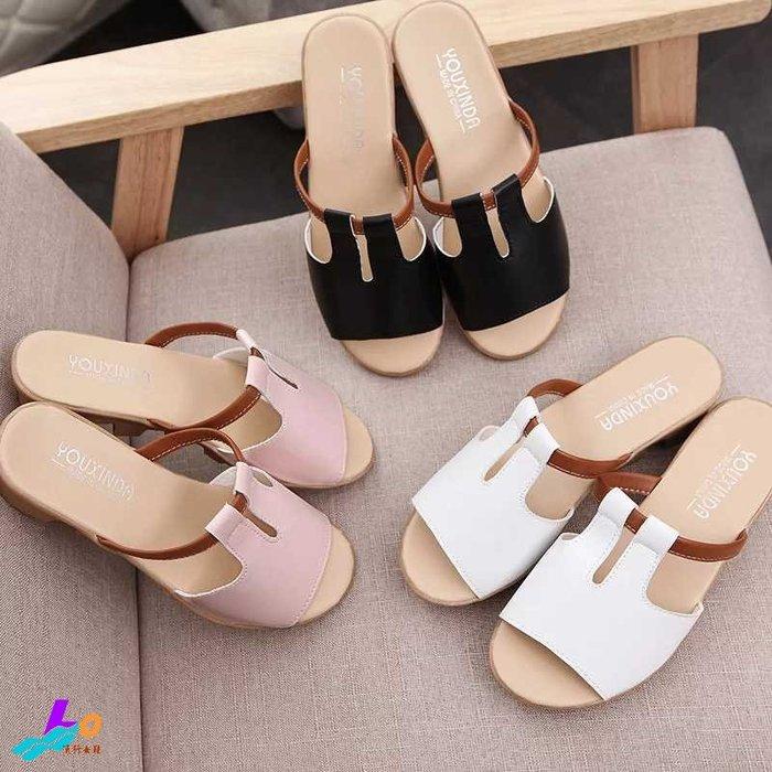 Lo流行女鞋*極簡質感.超軟圓頭寬版一字低跟拖鞋*