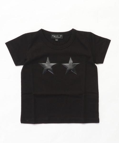 全新日本專櫃正品 agnes b. HOMME 白色/黑色經典立體星型LOGO合身T-shirt 1/2號