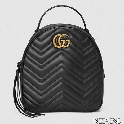【WEEKEND】 GUCCI GG Marmont Quilted 皮革 後背包 黑色 476671