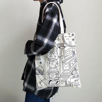 INS學生漫畫女包包帆布袋 韓國日系ulzzang女側背帆布包時尚書包    全館免運 全館免運