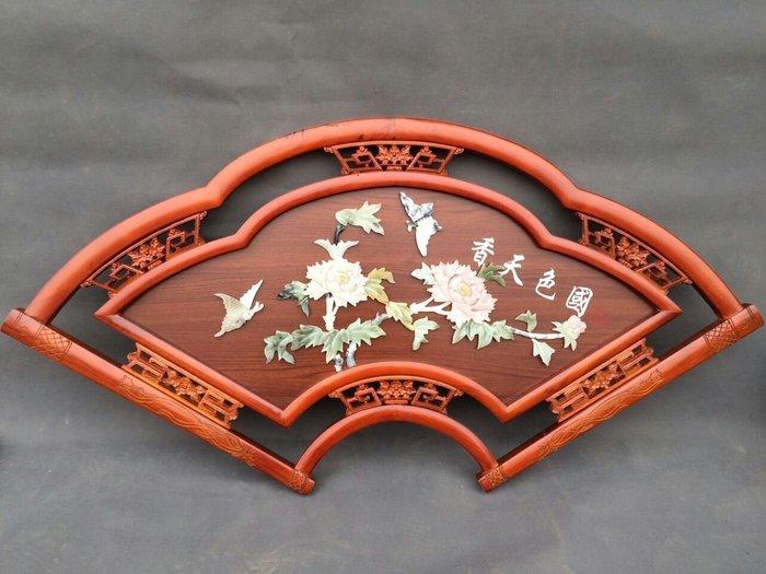 客廳中式古典玉畫掛畫四條屏玉雕畫裝飾畫 扇面形壁畫 國色天香 玉畫44