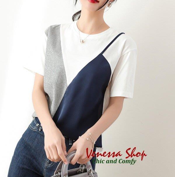 歐美品牌 2019新款 時尚亮絲鑲嵌拼接 舒適微寬鬆假兩件式短袖T恤上衣 三色 (T981)