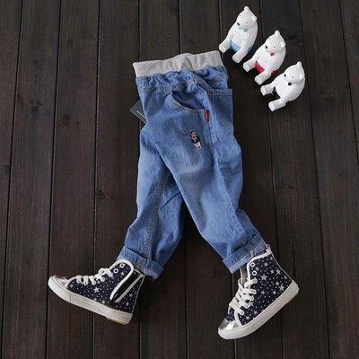 春款男童女童薄款褲子柔軟小孩水洗棉牛仔褲寬鬆長褲純棉寶寶