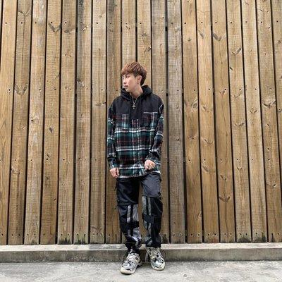【inSAne】韓國購入 / 拼接 / 格紋 / 襯杉帽TEE / 單一尺寸