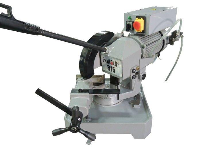 白鐵切割機不鏽鋼金工金屬315角度切斷圓鋸機送切鐵鋸片2段變速42~84RPM低轉速無火花切削幫浦防漏電負載開關富上機械