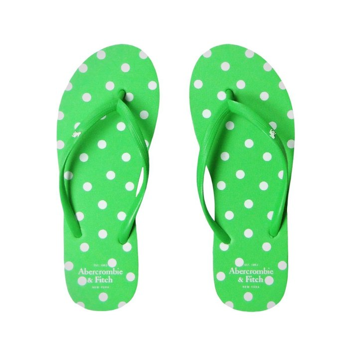 【Abercrombie&Fitch】【A&F】【XS~L】AF女款海灘夾腳拖鞋白點點螢綠 F04140224-01