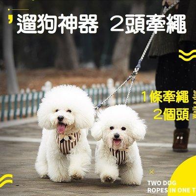 *Nicole寵物*寵物雙頭拉繩【1拖2】遛狗神器,一拖二牽繩,2頭牽引繩,1對2拉帶,2頭外出牽繩,頸圈,一次牽兩隻