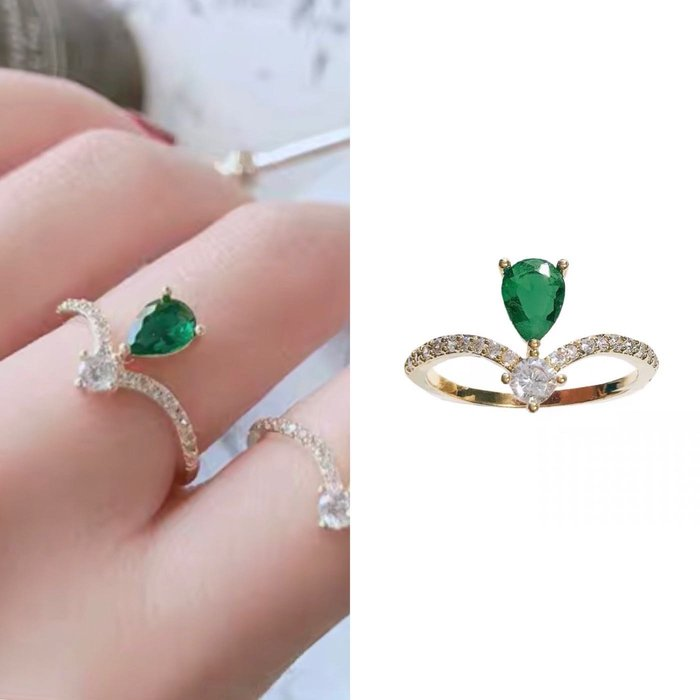 💎1678、優雅秀氣皇冠祖母綠鑽微鑲玫瑰金戒指💎 名牌精品 耳環 925純銀耳針 空運來台 輕奢珠寶 正韓飾品