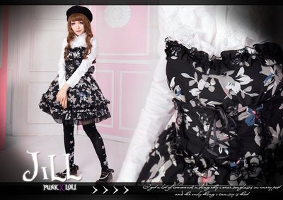 Oo吉兒oO【JGHA151BK】蘿莉塔朝顏/夕顏滿版碎花平口洋裝+襯衫套裝二件組  黑
