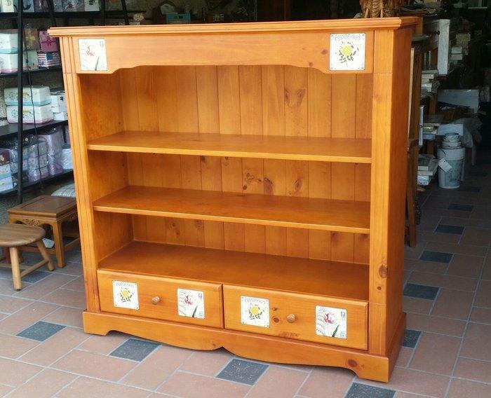 美生活館 -- 全實木西班牙磁磚系列--開放兩抽三層矮書櫃/置物櫃--也可修改為白色或雙色在報價