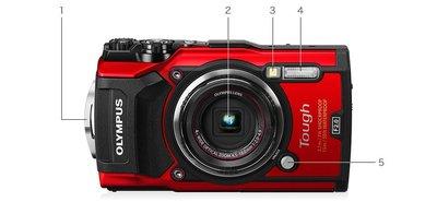 Olympus Tough TG-5  防水數位相機 TG5  IPX8  15米防水【 紅 / 黑 】 WW