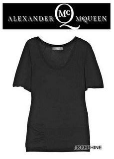 喬瑟芬【MCQ BY ALEXANDER MCQUEEN】出清特價$5500~2011春夏黑色圓領人造絲造型T恤~全新真品
