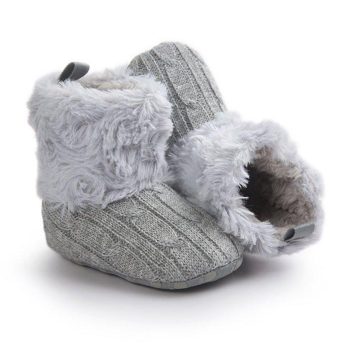 森林寶貝屋~特價~灰色毛毛靴子~學步鞋~幼兒鞋~寶寶鞋~保暖鞋~嬰兒鞋~雪鞋~棉鞋~童鞋~粘扣設計~彌月送禮