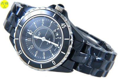 (六四三精品)大歐美仕最高檔(真)黑陶瓷J12款式手錶.藍寶石水晶鏡面.防水佳.蝴蝶扣!
