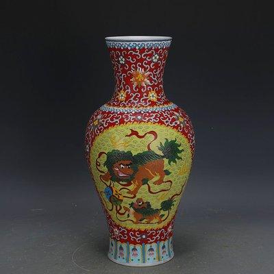 ㊣姥姥的寶藏㊣ 大清乾隆琺瑯彩掐絲麒麟獅子紋觀音瓶官窯回流  古瓷古玩古董收藏