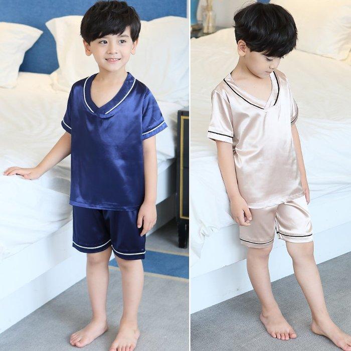 兒童睡衣夏季男童冰絲家居服薄款綿綢中大童12歲15男孩短袖空調服