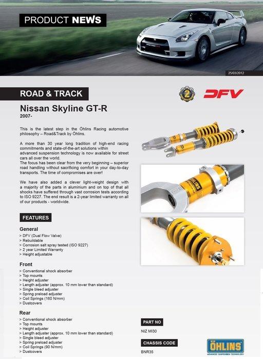 Nissan GT-R Skyline R35 07-15 專用 瑞典 Ohlins Road & Track 避震器