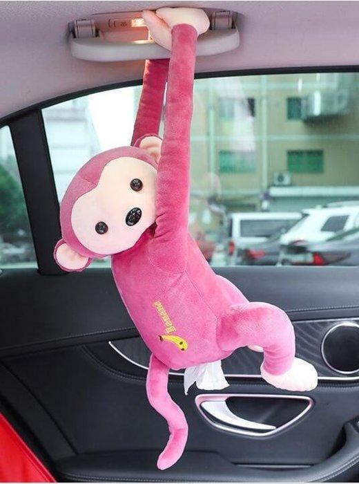 【全館免運】小猴子汽車紙巾盒抽車載車用車內車上紙抽創意可愛卡通挂式抽紙套【洛可旗艦店】