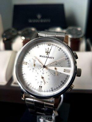 瑪莎拉蒂手錶MASERATI手錶ELEGANZA款,編號:R8873630002,銀色錶面銀色精鋼錶帶款