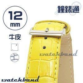 【鐘錶通】C1.32I《亮彩系列》鱷魚格紋-12mm 檸檬黃┝手錶錶帶/皮帶/牛皮錶帶┥