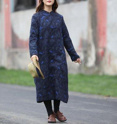 冬裝新品棉麻緹花改良旗袍加厚保暖連衣裙(老銀屋)