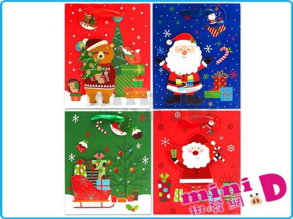 (大)聖誕(紙/立體)手提袋 聖誕禮物 包裝 禮物袋 交換禮物 禮物 文具批發【miniD】[711940001]