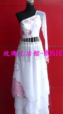 【演出show】~ 白色梅花流蘇單振袖舞服,舞衣套 ,舞蹈服