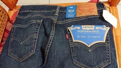 Levis 514修身直筒彈性吸濕排汗透氣涼感牛仔褲 cool jeans 29腰32褲長 coolmax 腰圍有彈性 32腰可穿