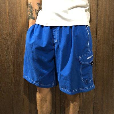 美國百分百【全新真品】 Speedo 伸縮鬆緊帶 海灘褲 海灘衝浪褲 運動短褲 寶藍 雙層內網 男 M號 A864
