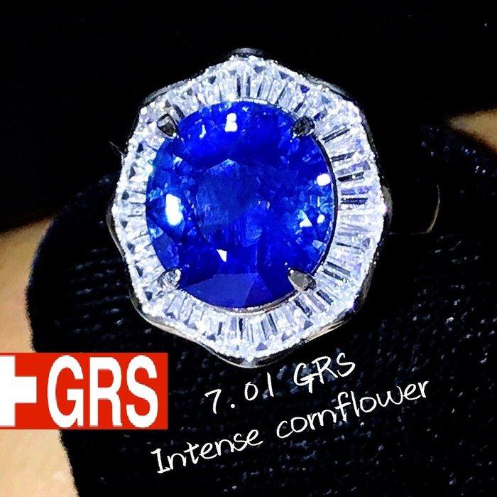 頂級IF淨度 GRS認證矢車菊藍 天然藍寶石 巨大7.01克拉 濃郁艷麗 天然無燒 火光超閃 送GRS