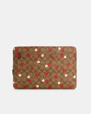 Coach Laptop Sleeve In Signature Canvas With Apple Print
