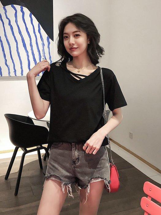 夏季女裝短袖T恤 網紅短袖T恤女新款夏季韓版寬松ins潮學生半袖早春V領上衣服