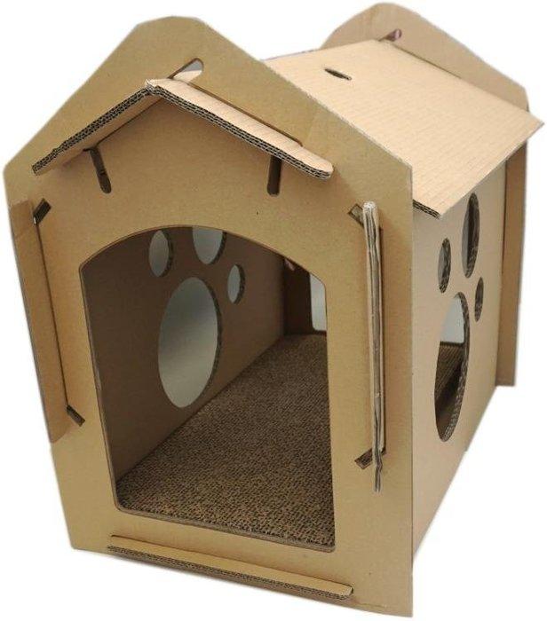 紙箱DIY貓屋帶抓板 貓玩具 貓屋貓抓板瓦楞紙抓板 CY