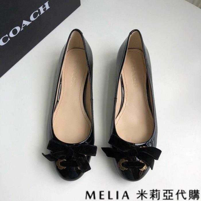 Melia 米莉亞代購 歐美精品女鞋 商城特價 COACH 低跟鞋 小資鞋 蝴蝶結綁帶設計 甜美清新風格 舒適羊皮 黑色