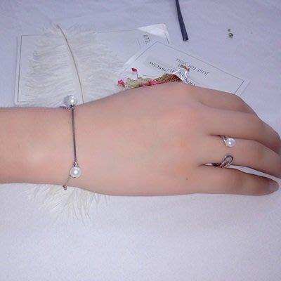 珍珠 手 鍊 925純銀手環-6.6mm雙珠細款生日母親節禮物女飾品73qn20[獨家進口][巴黎精品]