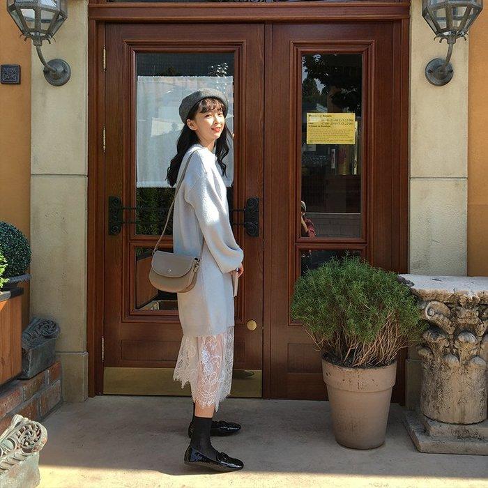 NETSHOP collection 韓國 )仙女系內搭睫毛蕾絲連身襯裙 連身裙 透膚內搭滾邊蕾絲高領款 單色 白色