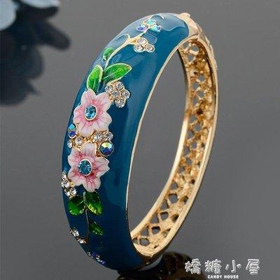 景泰藍手鐲女民族風花朵鏤空琺瑯鍍金鐲子飾品首飾送長輩