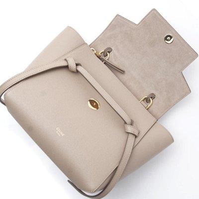 正品 CELINE 189003 Nano Belt bag in grained calfskin 淺卡其色 現貨