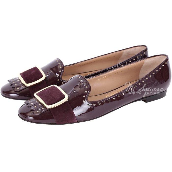 米蘭廣場 Salvatore Ferragamo LILAS 鉚釘飾邊拼接漆皮流蘇樂褔鞋(紫紅色) 1530418-B6