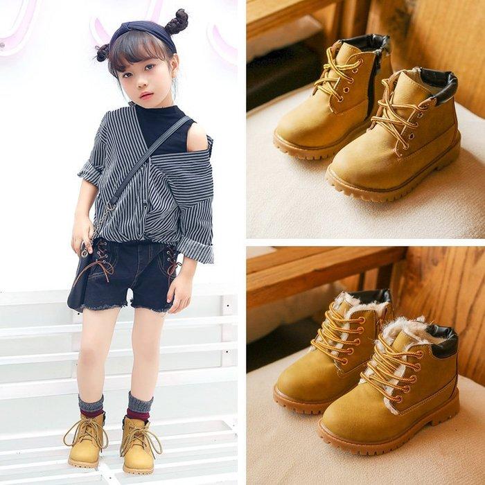 東大門平價鋪  韓版中大童英倫中筒馬丁靴,男女童雪地保暖棉靴