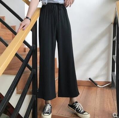 韓版夏季女裝休閑褲簡約基礎款垂感寬松闊腿褲百搭針織褲九分褲子