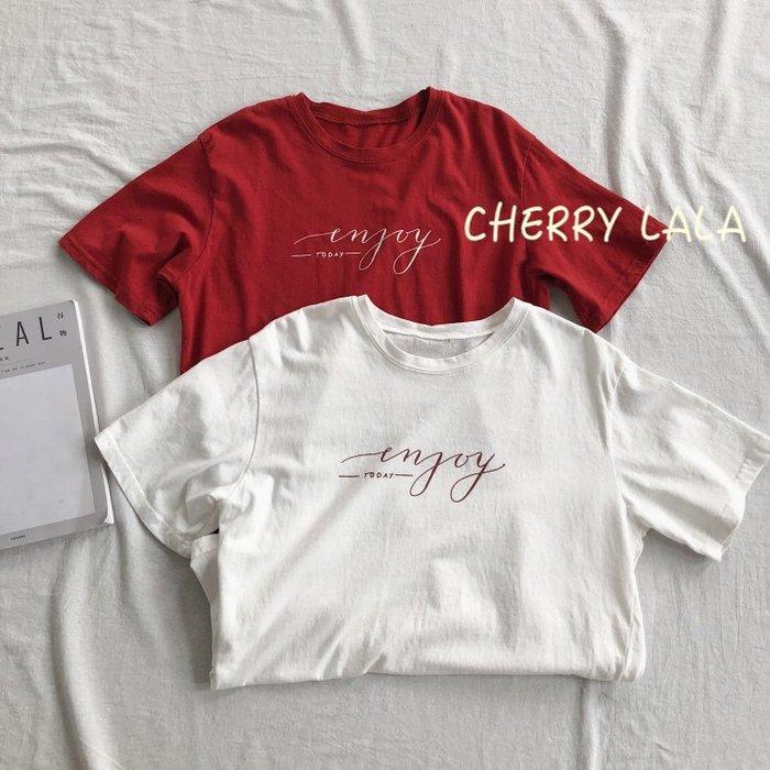CHERRY LALA 韓。實拍。19夏。清爽簡潔字母水洗棉休閒寬鬆百搭短袖T恤-紅/白  AM04153