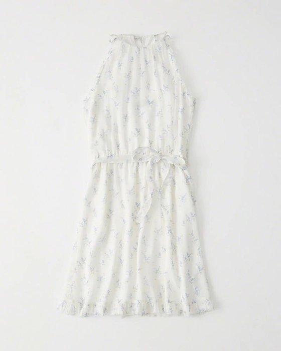 Maple麋鹿小舖 Abercrombie&Fitch * AF 白色花花細肩帶洋裝 * ( 現貨XS/S號 )
