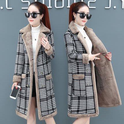 ☆女孩衣著☆加絨毛呢外套女裝中長款冬季新款韓版加厚羊羔毛流行格子呢子大衣(NO.240)