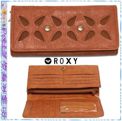 ☆POLLY媽☆歐美ROXY鏤空剪花棕色皮質長夾19×10×2.5cm