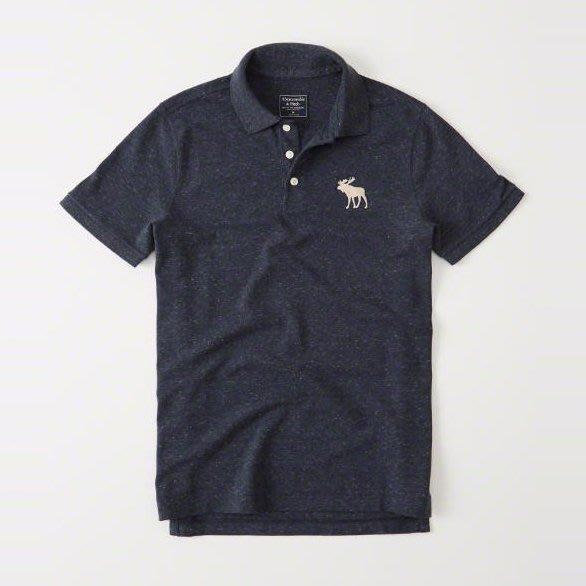 美國百分百【全新真品】Abercrombie & Fitch Polo衫 AF 短袖 麋鹿 男 素面 深藍 I359