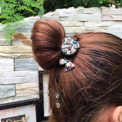 宏美飾品館~韓國進口發飾頭飾精致可愛小清新水鉆瓢蟲雙股藕節皮筋發圈發繩